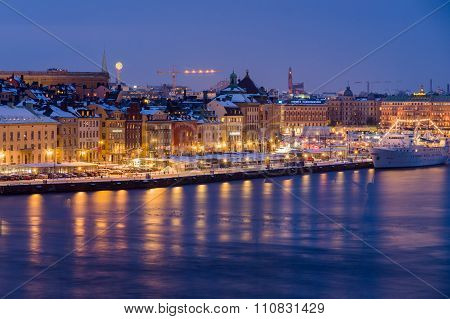 Night Winter Cityscape Of Stockholm, Sweden