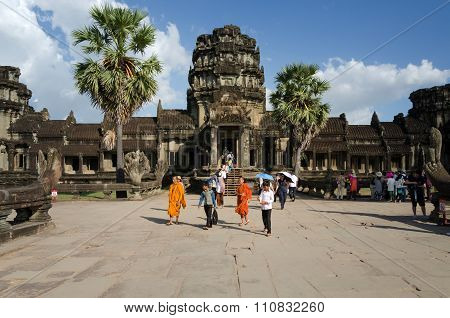 Siem Reap Cambodia - December 2 2015: People visit Angkor Wat in Siem Reap