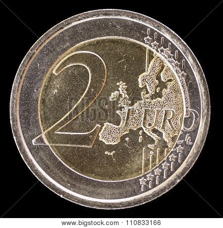 Common Side Of Two Euro Coin On A Black Background