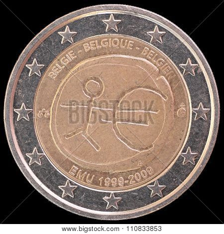 Commemorative Two Euro Coin Issued By Belgium In 2009 For The Anniversary Of Economic And Monetary U