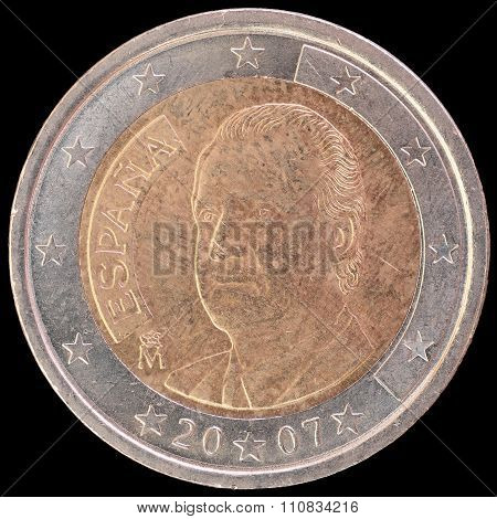 National Side Of Spain Two Euro Coin On Black Background