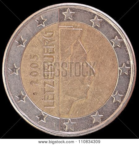 National Side Of Luxembourg Two Euro Coin On Black Background