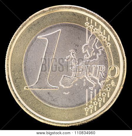 Common Side Of One Euro Coin On A Black Background