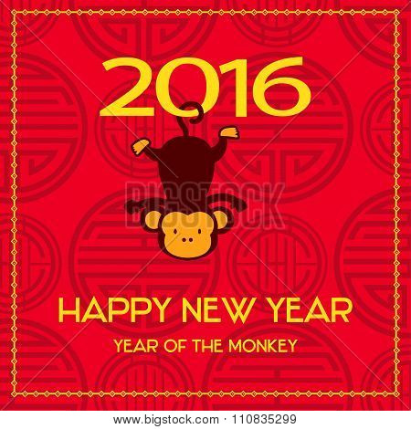 New Year postcard design, gold text with monkey symbol on red background, year of the monkey 2016 de