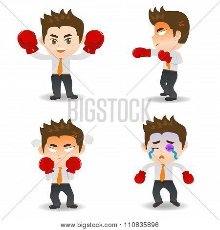 Cartoon Illustration Business Man Boxing