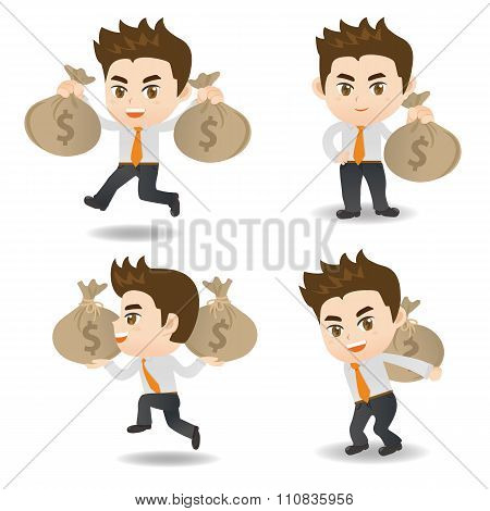 Cartoon Illustration Businessman With Moneybag