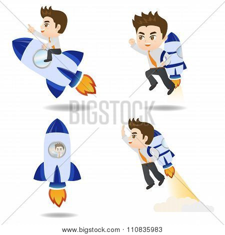 Cartoon Illustration Businessman With Rocket