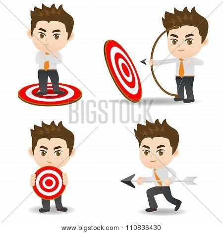 Cartoon Illustration Businessman Archery Target