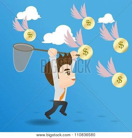 Cartoon Illustration Businessman Catching Money