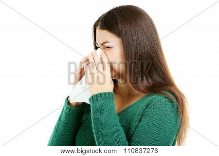 Sick Girl On A White Background