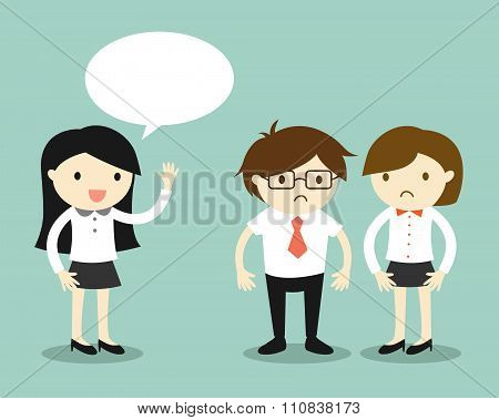 Business concept, business women talking but her coworkers feeling awkward.