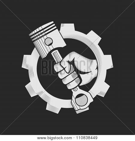 Car or bike workshop logo template (concept).