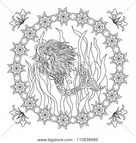 Mermaid zentangle coloring page
