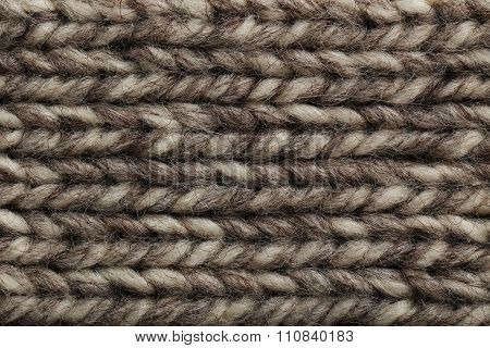 Knitted Woolen Fabric Background, Close Up