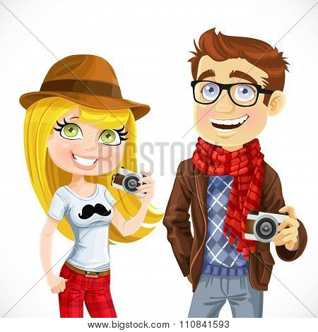 Couple Of Hipsters With A Camera Isolated On White Background