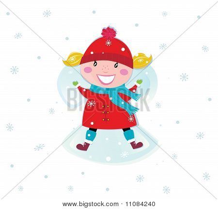 Happy christmas girl in red costume making angel in snow