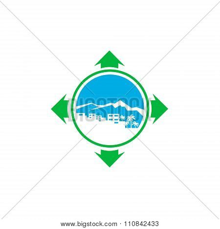 logo with a silhouette of the city and palm