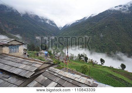 View Of Village In Trekking Route, Pokhara, Nepal