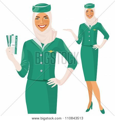 Arab   hostess. Muslim Stewardess holding ticket in her hand.
