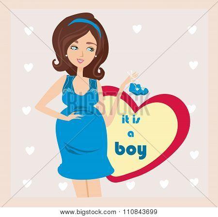 It's A Boy! - Pregnant Woman Card