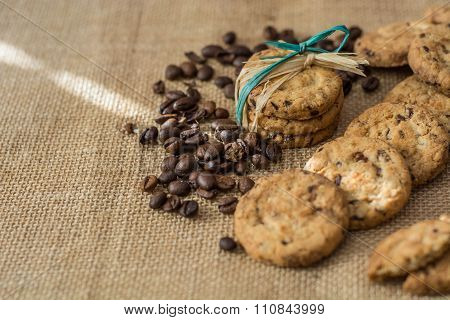 Homemade Cookies And Coffee Beans