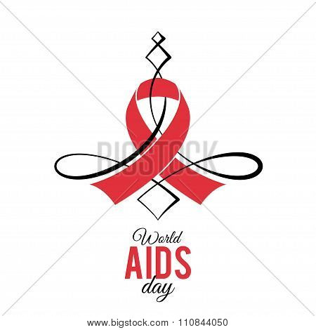 Illustration Symbol Aids Red Ribbon
