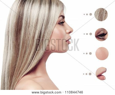 Beauty Woman Face Portrait. Beautiful Spa Model Girl With Perfect Fresh Clean Skin. Youth And Skin