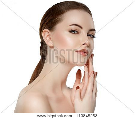 Beauty Woman Face Portrait Girl With Perfect Fresh Clean Skin.cheerful Girl Is Touching Her Cheeks