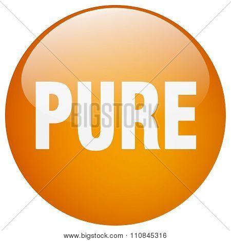 Pure Orange Round Gel Isolated Push Button