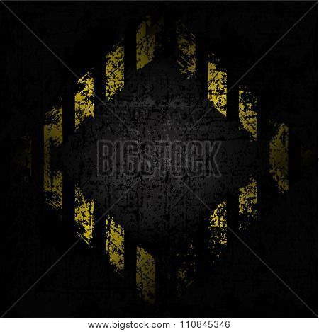 vector grungy background texture of old wall with diamond design with black and yellow lines warning