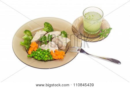 Dietary Breakfast Of Boiled Meat With Vegetables And Broth