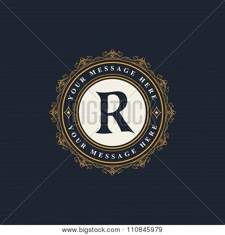 Monogram Design Elements, Graceful Template. Elegant Line Art Logo Design. Emblem Letter R. Retro Vi