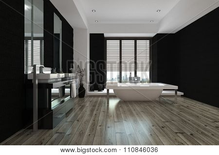 Large spacious black and white bathroom interior with a freestanding bathtub and wall mounted vanities and mirror, view down the length of the parquet floor. 3D Rendering.