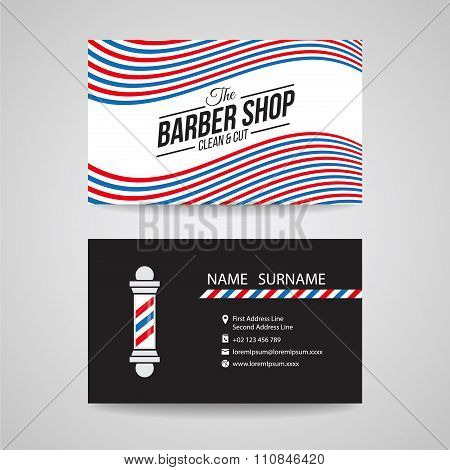 Business card - barber shop and barber pole vector design