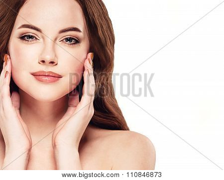 Beautiful Woman Face Studio On White With Sexy Lips Touching Her Face
