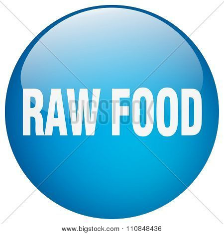 Raw Food Blue Round Gel Isolated Push Button