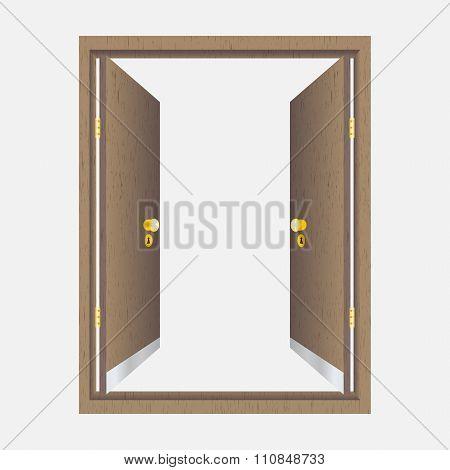 Wood Open Door With Frame