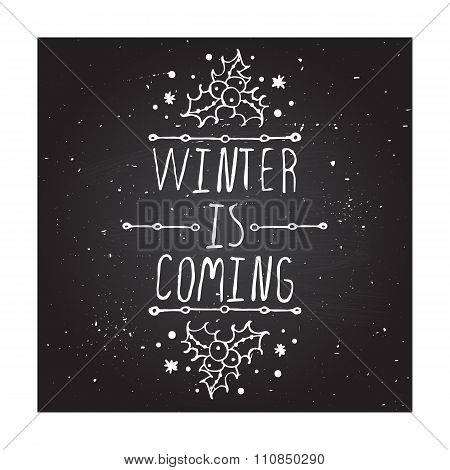 Winter greeting card with text on chalkboard background
