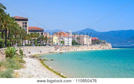 Ajaccio Cityscape, Corsica Island, France. Beach