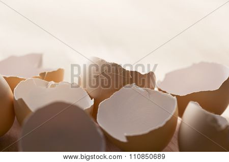 Many egg shells on wooden table.  Shallow depth of field.