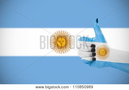 Flag Of Argentina On Female's Hand