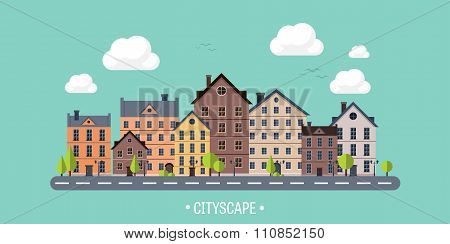 Vector illustration. City silhouettes. Cityscape. Town skyline. Panorama. Midtown houses. Summer.