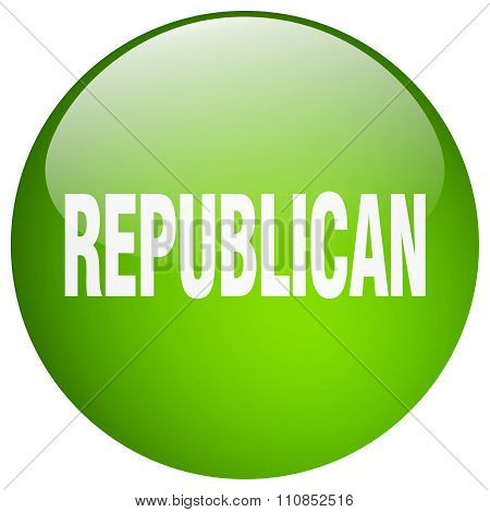 Republican Green Round Gel Isolated Push Button