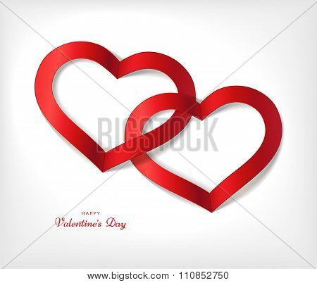 White Valentine's Day Background With Red Heart. Editable Blend Options.