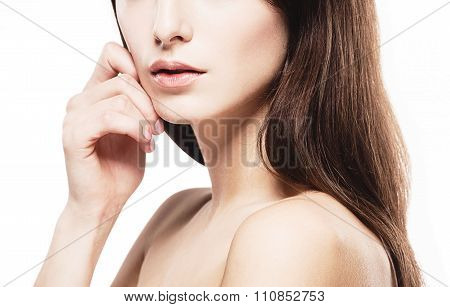 Beautiful Woman Part Of Face Nose Chin And Shoulders Touching Her Face By Fingers Close Up Portrait