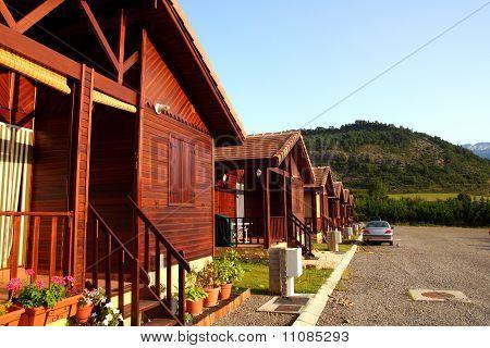 Holz Bungalow Zeile Campign Camp Park