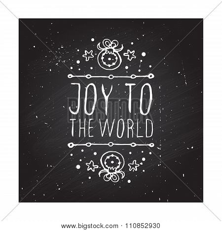 Christmas greeting card with text on chalkboard background