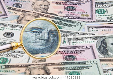 Dollar Currency Notes Photographed With A Magnifying Glass