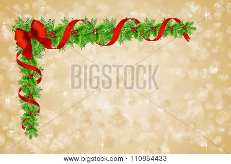 Christmas Holly Border Decoration Over Bokeh Background