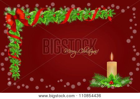 Christmas Holly Border Decoration With Candle And Snowflakes Over Red Background, Greeting Card